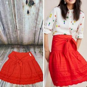 Anthropologie Maeve Paix Eyelet Tie Waist Skirt